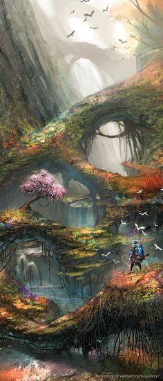 paintings video games landscapes forest birds illustrations fantasy art digital…