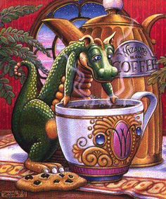 Morning Coffee ~ Art of Randal Spangler Love the dragon! Magical Creatures, Fantasy Creatures, Fairytale Creatures, Mythological Creatures, Fantasy Dragon, Fantasy Art, Dragon 2, Baby Dragon, Dragon Blood
