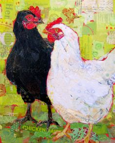 """GOSSIP GIRLS 2 Original Paper Collage Black and White Chickens 10"""" X 8"""" on gallery wrapped canvas Black And White Chickens, Apple Painting, Paper Collage Art, Gossip Girls, Painted Paper, Photo Canvas, Hanging Art, Wrapped Canvas, Original Artwork"""