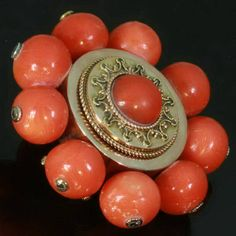 Dutch Victorian antique blood coral gold brooch with filigree