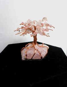 Rose Quartz Raw Natural Copper Wire Tree of Life Cherry Blossom Tree Handmade Ho. - Rose Quartz Raw Natural Copper Wire Tree of Life Cherry Blossom Tree Handmade Home Decor Reiki Heal - Inexpensive Home Decor, Easy Home Decor, Handmade Home Decor, Blossom Trees, Cherry Blossom Tree, Cherry Blossom Bedroom, Crystals And Gemstones, Stones And Crystals, Borax Crystals