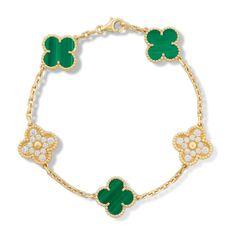 Vintage Alhambra bracelet, 5 motifs, Gold - VCARO7GQ00 - Van Cleef & Arpels