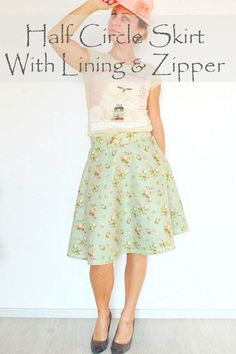Making a half circle skirt is insanely easy! With this simple tutorial for a half circle skirt with zipper, you won't need a pattern to make one that fits you perfectly!