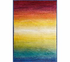 "inexpensive and colorful fun indoor/outdoor rug.  Lyon Rainbow 5'2""x7'7"" Area Rug 