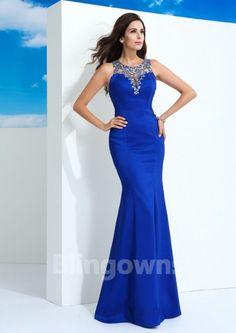 Crystals Blue Taffeta Full Back Mermaid Jewel Floor Length Sleeveless Evening / Prom Dresses