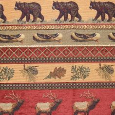 Premium Heavyweight upholstery fabric featuring bears, moose, elk and many north woods lodge fabrics for your cabin furniture. Thick Curtains, Rustic Curtains, Rustic Upholstery Fabric, Wood Medicine Cabinets, Plaid Chair, Rustic Decorative Pillows, Rustic Cabin Decor, Country Decor, Cabin Furniture