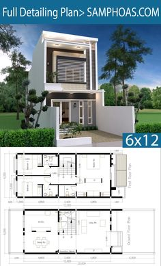 Modern Home Plan with 3 Bedroom - SamPhoas Plansearch Two Story House Design, 2 Storey House Design, Bungalow House Design, House Front Design, Small House Design, Modern House Design, Narrow House Designs, Narrow House Plans, Duplex House Plans