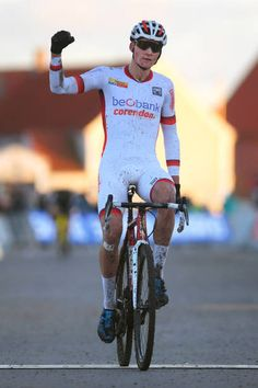 1st WC Bogense 2017  Arrival / Mathieu VAN DER POEL White UCI Cyclocross Leader Jersey / Celebration / World Cup /