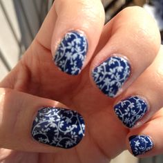 Denim flowers nail art.