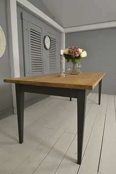 French Tapered Leg 10 Seater Painted Oak Dining Table (Grey) photo 2