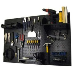 32 in. x 48 in. Metal Pegboard Standard Tool Storage Kit with Black Pegboard and Black Peg Accessories
