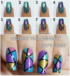 Abstract Holo Nail Art Design with Tutorial