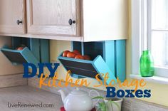 An easy DIY tutorial to make under-cabinet kitchen storage boxes. These boxes can hold produce or other kitchen items and help to keep your counters clear!