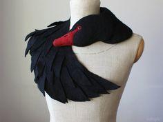 Black Swan  felted wool animal scarf stole / shrug by celapiu