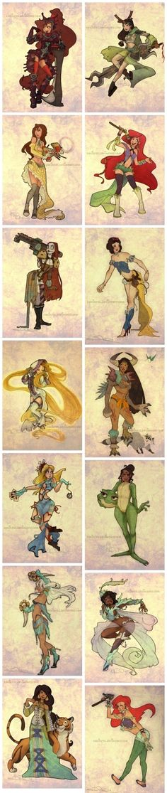 Disney princesses, Final Fantasy style.