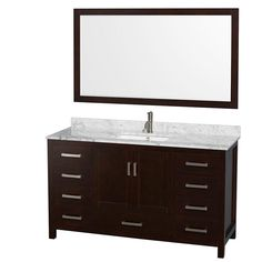 Wyndham Collection Sheffield 60 in. Vanity in Espresso with Marble Vanity Top in Carrara White and 58 in. Mirror-WCS141460SESCMUNSM58 - The Home Depot