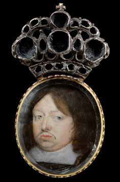 "Miniature portrait of Charles X, King of Sweden"" ~1650, The Royal Armoury, Sweden (Hans Keilson? Alexander Cooper?)  http://www.googleartproject.com/galleries/21829698/21842557/24145784/"