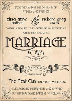 Wedding invitations retro vintage Art by DesignedWithAmore