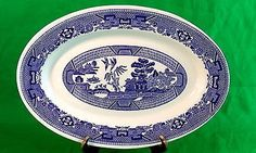 "Vintage Buffalo China MEAT PLATTER Blue Willow Oval Platter 13-1/2"" Oval PLATTER"