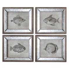 Coastal Wall Art: Set of 4 Mirrored Fish Framed Wall Art|Bella Coastal Decor