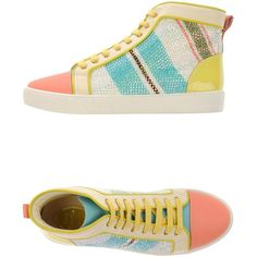 Rene' Caovilla Sneakers (1,285 CAD) ❤ liked on Polyvore featuring shoes, sneakers, salmon pink, colorful shoes, multi color sneakers, multi colored sneakers, salmon shoes and multicolor shoes