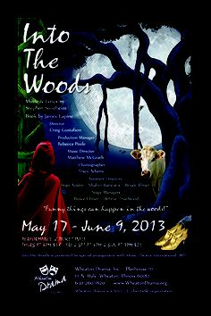 """""""Into the Woods"""" plays at Wheaton Drama from May 17 - June 9, 2013. Postcard design by Traci A. Cidlik. Show info' and tickets at http://www.wheatondrama.org."""