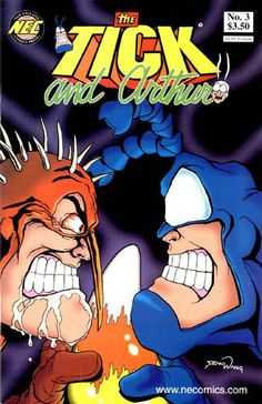 Tick and Arthur - Comic Book Cover - The Tick versus Barry! This was a great story! Comic Book Covers, Comic Books Art, Book Art, Inappropriate Laughter, Earthworm Jim, Pulp Fiction Book, Character Design Animation, Gay Art, Misfits