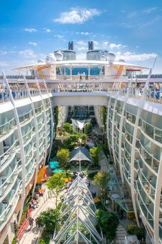 Harmony of the Seas Central Park - Royal Caribbean International. The world's largest cruise ship has a beautiful park area in the middle of the ship! Surrounded this oasis of real plants are lovely restaurants and bars, my favourite area onboard.