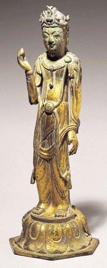 Standing Avalokiteshvara. Three Kingdoms Period, 1st half of 7th century. h. = 33 cm (13 in) Daegu National Museum. Buddhism first entered Korea from China in the late 4th century, so that by the end of the Three Kingdoms the religion had become thoroughly established.