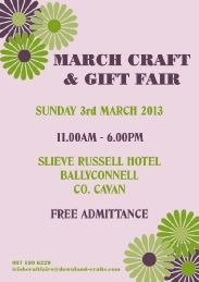 Summer craft and gift fair held annually in the Slieve Russell Hotel, Ballyconnell, Co. Approximately 30 tables of handmade crafts, supplies & gifts. March Crafts, Summer Crafts, Cyber Monday Specials, Event Organization, Event Calendar, Craft Gifts, Handmade Crafts, Events, How To Make