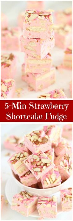 ~ Sweet & crunchy Nilla wafer cookies, strawberry frosting, slivered almonds, & white chocolate chips come together in this super simple & fast fudge. Fudge Recipes, Candy Recipes, Sweet Recipes, Cookie Recipes, Dessert Recipes, Fudge Flavors, Frosting Recipes, Buttercream Frosting, Homemade Fudge