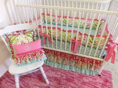 MADE to ORDER Kumari Garden Crib Bedding 3 pc by LittleCharlieMay, $369.00