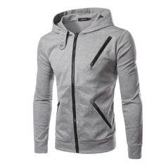 Fall Winter Mens Solid Color Sweatshirt Hooded Multi Zipper Casaul Hoodies - Gchoic.com