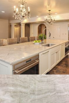 Light marble looking quartzite with light veining. Kitchen Room Design, Kitchen Tiles, Living Room Kitchen, Kitchen Interior, Kitchen Decor, Light Granite Countertops, White Farmhouse Sink, Classic Kitchen, Updated Kitchen