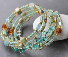 Aqua and amber cuff bracelet from DriftwoodBeach