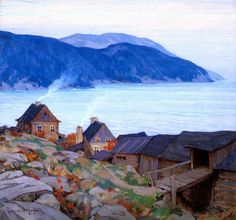 Evening on the North Shore, 1924 by Clarence Gagnon, peintre québécois. Canadian Painters, Canadian Artists, Clarence Gagnon, Art Inuit, La Rive, Of Montreal, Montreal Canada, Oil Painting Reproductions, North Shore