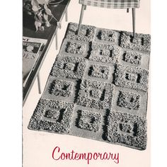 Crochet Contemporary Rug Pattern -- Square Blocks in Loop Stitch create an interesting textural effect.