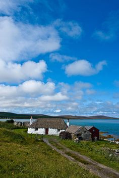 Old Cottage at the Coast, Isle of Benbecula, Outer Hebrides, Scotland England Ireland, England And Scotland, Scottish Cottages, Country Cottages, Travel Around The World, Around The Worlds, Old Cottage, Irish Cottage, Wales