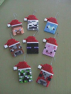 Perler Minecraft Christmas/Holiday Ornaments - Set of 8 Melty Bead Patterns, Pearler Bead Patterns, Perler Patterns, Pearler Beads, Fuse Beads, Beading Patterns, Beaded Christmas Decorations, Christmas Perler Beads, Holiday Ornaments