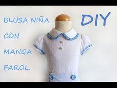 Como hacer una Blusa de niña con manga farol. En tienda.patronesmujer.com - YouTube