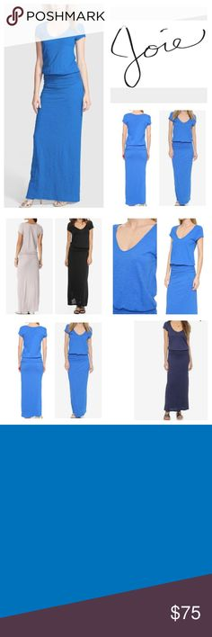 """Soft Joie Wilcox B Maxi Dress.  NWT. Soft Joie Victoria Blue Wilcox B Ruched Maxi Dress, 100% Supima cotton, machine washable, 19"""" armpit to armpit (38"""" all around), 27"""" elastic waist which stretches up to 38"""", 62"""", length from shoulder to hem, waistline ruching accentuates the fitted silhouette of a heathered jersey dress, short sleeves, flirty scoop neckline, hidden elastic waist bands gathers the waist, partially lined, measurements are approx.  Truest color is third pic frame.  NO TRADES…"""