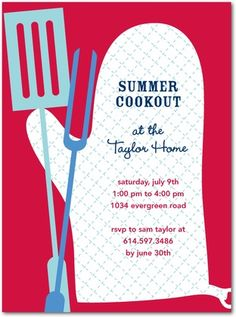 Party Invitations Cookout Time - Front : Red Lantern