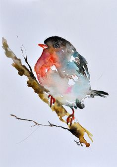 ORIGINAL Aquarell Vogel Malerei Neutral rot grau von ArtCornerShop
