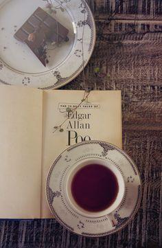 Book, chocolate, tea