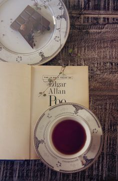 Book, chocolate, tea