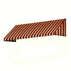 Awntech 76.5-In Wide X 36-In Projection Burgundy/Tan Stripe Slope Wind