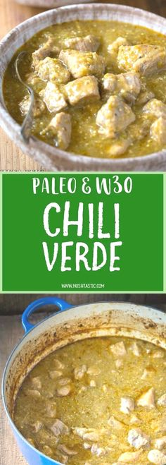 Easy and healthy , gluten free, whole30, Paleo Chili Verde recipe with roasted tomatillos, garlic, onion, and tender pieces of pork that melt in your mouth and it's low carb too! (Low Carb Dinner Mexican)