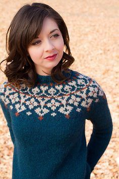 Pravda Pullover pattern by pamela wynne Ravelry: Pravda Pullover by pamela wynne. Sweater Knitting Patterns, Knitting Designs, Knit Patterns, Icelandic Sweaters, Fair Isle Pattern, Fair Isle Knitting, Knit Picks, Crochet Yarn, Pulls