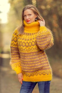 29a53271563d6 New yellow hand knit mohair sweater Icelandic fuzzy handmade jumper  SUPERTANYA