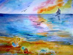 boy at the beach watercolor print sea gull by AffordableARTbyRonda